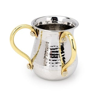 Hammered Stainless Steel Wash Cup with Gold Handles