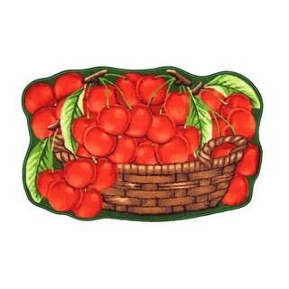 Yummy Cherries Printed Non-Slip Kitchen Mat, 18x30 Inches