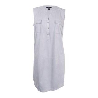 Alfani Women's Plus Size Faux-Suede Shirtdress (20W, New City Silver) - new city silver - 20W