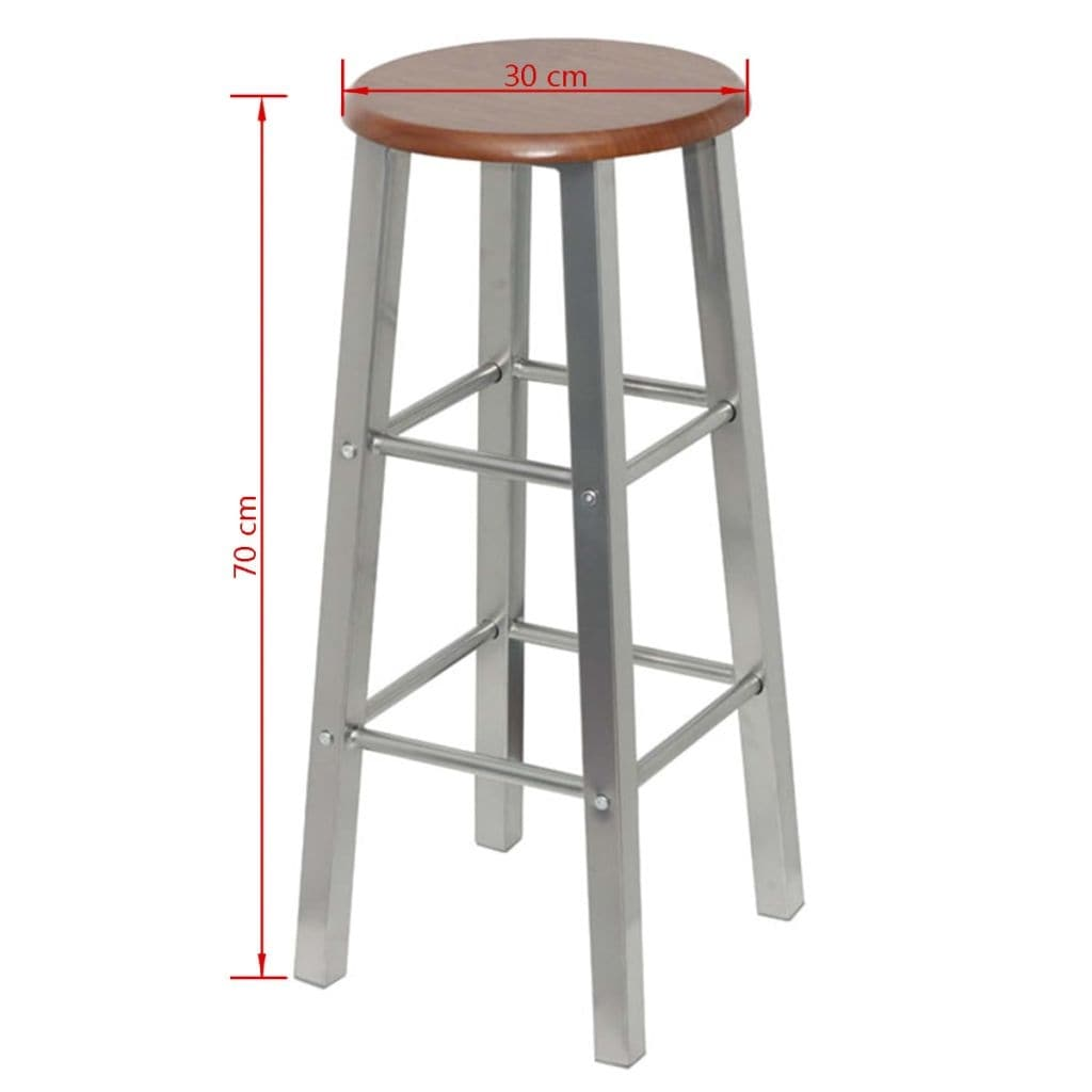 Wondrous Vidaxl Set Of 2 Metal Brown Mdf Seat Pub Bar Stools High Chairs Barstools Pabps2019 Chair Design Images Pabps2019Com
