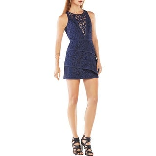 BCBG Max Azria Womens Hanah Mini Dress Lace Tiered