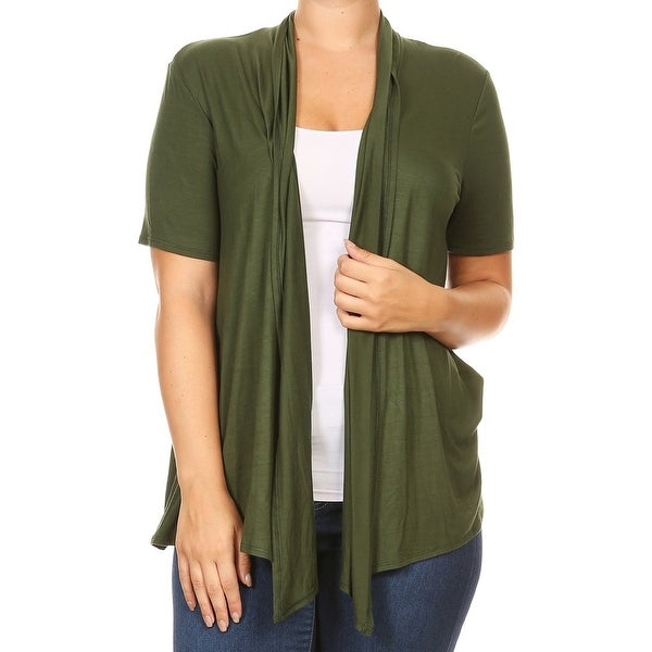 543629875f1 Shop Women Plus Size Short Sleeve Cardigan Casual Cover Up Olive ...