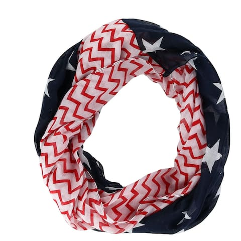 David & Young Women's Stars and Stripes American Flag Print Infinity Loop Scarf - Navy - one size