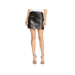 Blank NYC Womens Mini Skirt Metallic Patent Leather