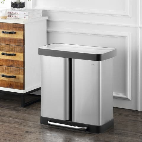 Edmund Kitchen Trash/Recycling Double-Bucket Trash Can