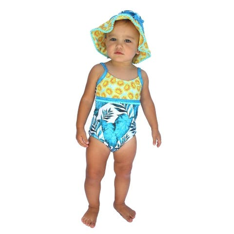 Azul Baby Girls Turquoise Endless Summer Trim Detail One Piece Swimsuit