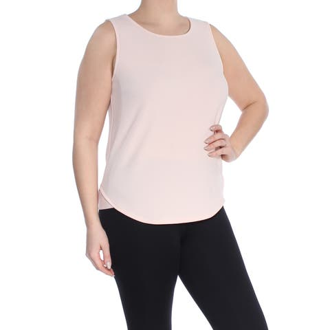 BAR III Womens Coral Sleeveless Jewel Neck Evening Top Plus Size: L