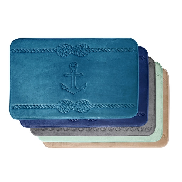 Nautical Pattern Cotton Candy Soft Non-slip Memory Foam Bath Rug. Opens flyout.