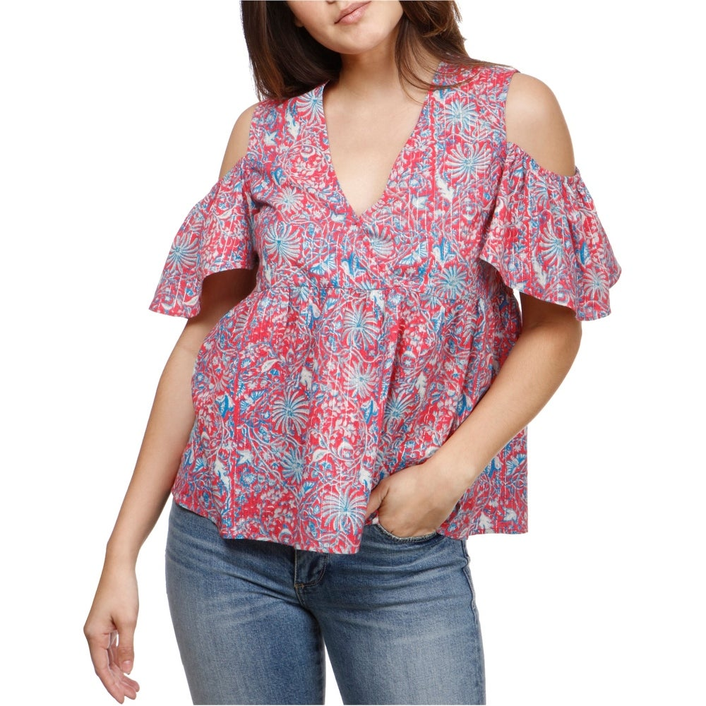 Lucky Brand Womens Floral Cold Shoulder Baby Doll Blouse