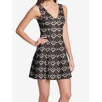 Kensie Black Women's Size 2 Floral Lace V-Neck Sheath Dress