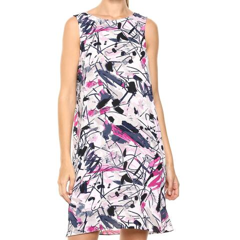 NIC+ZOE Womens Dress Purple Size 1X Graffiti Femme Print Tie-Back