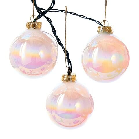Kurt Adler Glass Ball Light Set - Color-Changing LED Ornament String Lights