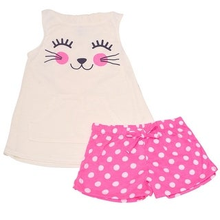 Little Girls Ivory Animal Face Hooded Top Dotted 2 Pc Shorts Pajama Set