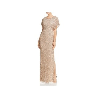 Adrianna Papell Womens Evening Dress Embellished Butterfly Sleeves
