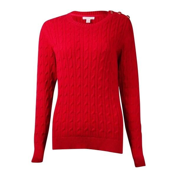 Joseph A Womens Boxy Cable Knit Crewneck Sweater Red XS