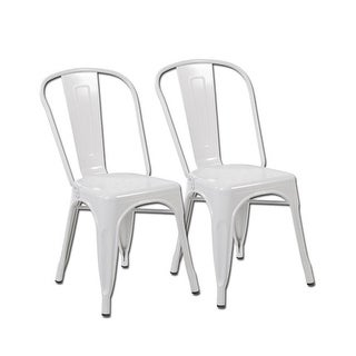 United Seating Metal Stackable Chairs, Matt White - Set of 2