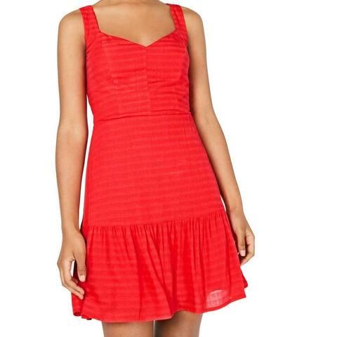 City Studio A-Line Dress Red Size XXS Junior Striped V-Neck Solid
