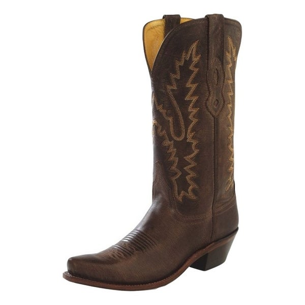 Old West Cowboy Boots Womens Goodyear Snip Toe Brown Canyon