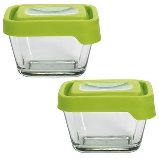 Anchor Hocking 1 7/8-Cup Rectangular Food Storage Containers with Green TrueSeal Airtight Lids, Set of 2