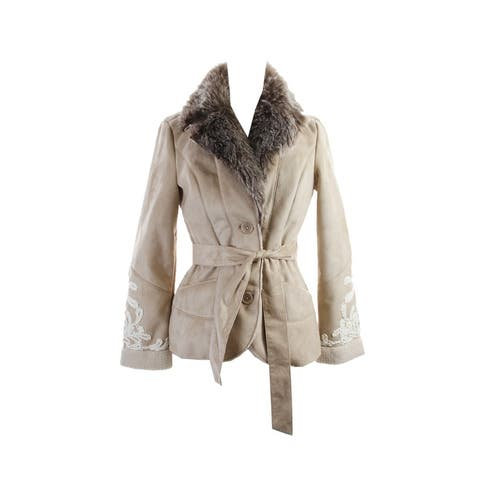 Inc International Concepts Camel Faux-Fur Embroidered Jacket M