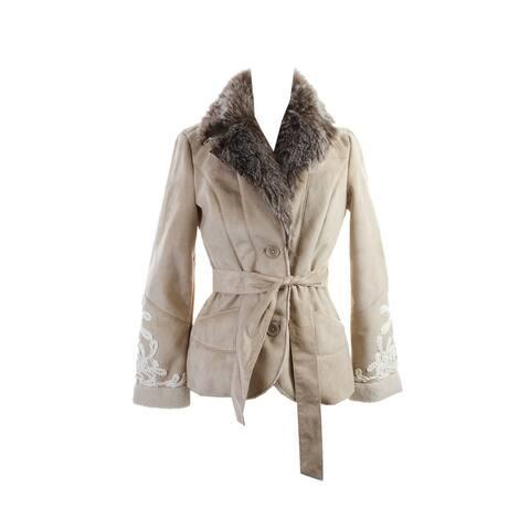 Inc International Concepts Light Camel Faux-Fur Embroidered Jacket M