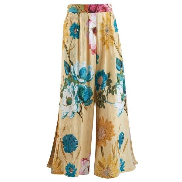 52b9ea3afa625 Shop Women's Crinkle Crepe Flood Pants - Flower Print w/ Side Slits ...