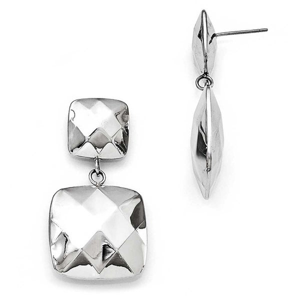 Chisel Stainless Steel Polished Hollow Squares Post Dangle Earrings