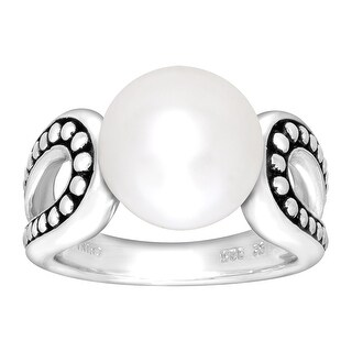 Honora Button Pearl Open Sides Ring in Sterling Silver