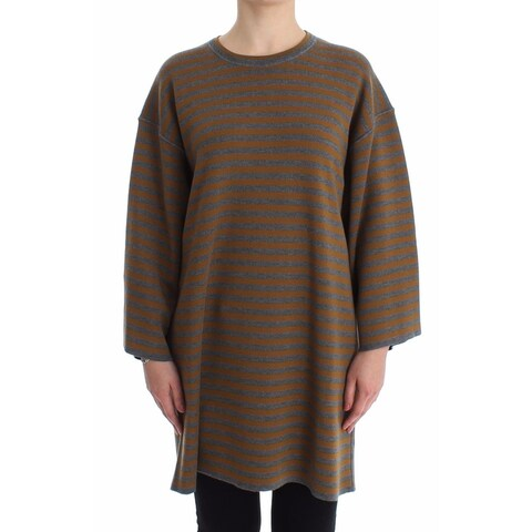 Dolce & Gabbana Dolce & Gabbana Oversized Gray Yellow Striped Sweater Top - it40s-l