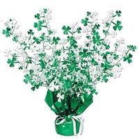 "Club Pack of 12 Shamrock Gleam 'N Burst St. Patrick's Day Centerpiece Decorations 15"" - Green"
