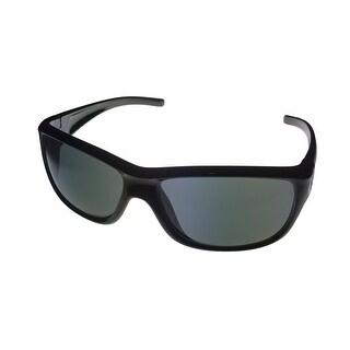 Perry Ellis Mens Sunglass PE02 1 Black Rectangle Plastic Wrap, Smoke Lens - Medium
