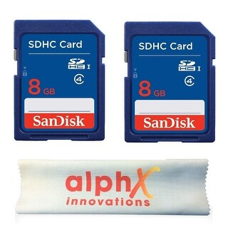 2 Pack - SanDisk 8GB SDHC Class 4 Memory Card with Alphx Innovation Microfiber Cloth - N/A - N/A