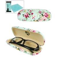 JAVOedge Vintage Floral Pattern Hard Shell Eyeglass Case with Bonus Microfiber Eyeglasses Cleaning Cloth