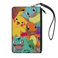 Pikachu & Kanto Starter Pok�mon Close Up Pose Type Symbols Multi Color Canvas Zipper Wallet