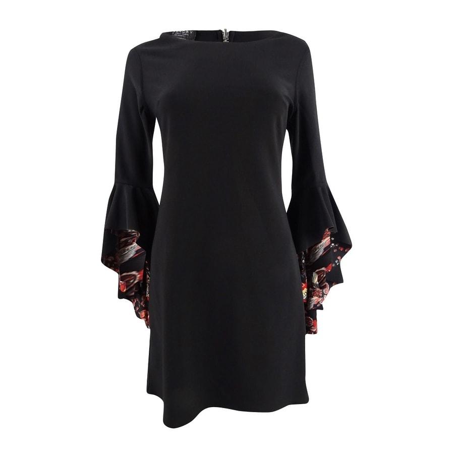 Laundry by Shelli Segal Womens Reversible Angel-Sleeve Sheath Dress - Black Multi