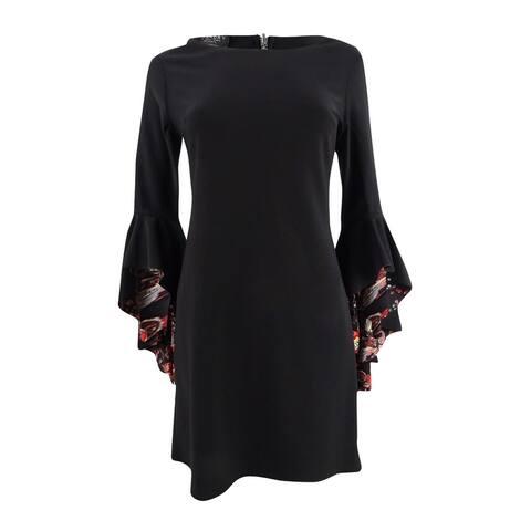 Laundry by Shelli Segal Women's Reversible Angel-Sleeve Sheath Dress - Black Multi