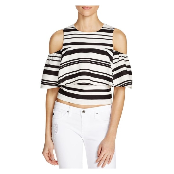 JOA Womens Blouse Cold Shoulder Striped