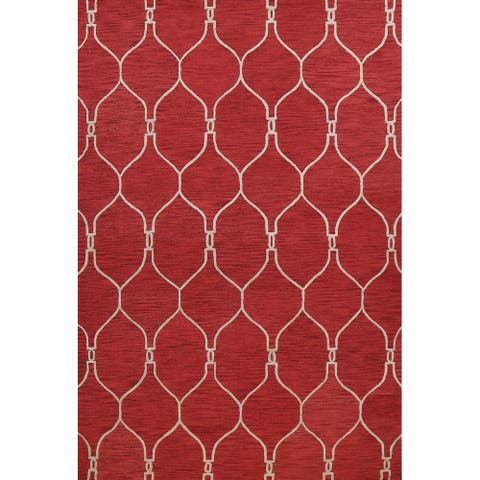 """Red Contemporary Trellis Oriental Area Rug Hand-tufted Wool Carpet - 9'0"""" x 12'0"""""""