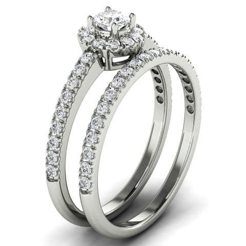 3/4 CT Petite Prong Halo Round Cut Diamond Matching Bridal Set in 14KT