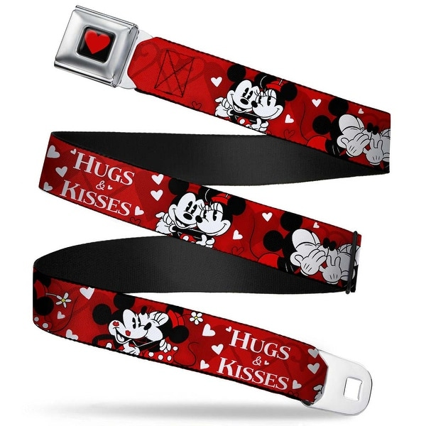 Heart Full Color Black Red Mickey & Minnie Hugs & Kisses Poses Reds White Seatbelt Belt