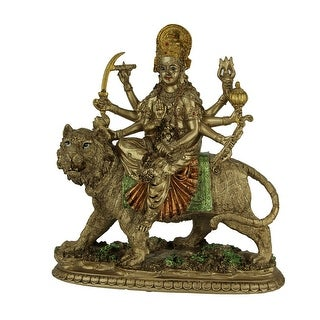 Durga Supreme Hindu Goddess Riding On Tiger Statue - 9.5 X 9 X 3.5 inches