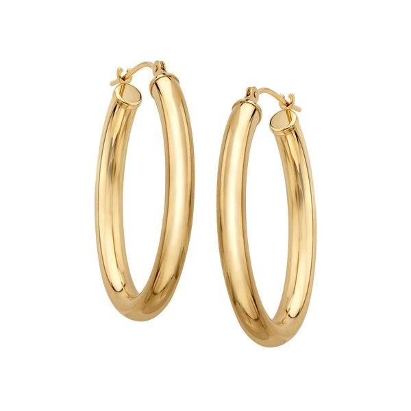 Just Gold Oval Tube Hoop Earrings in 14K Gold - YELLOW
