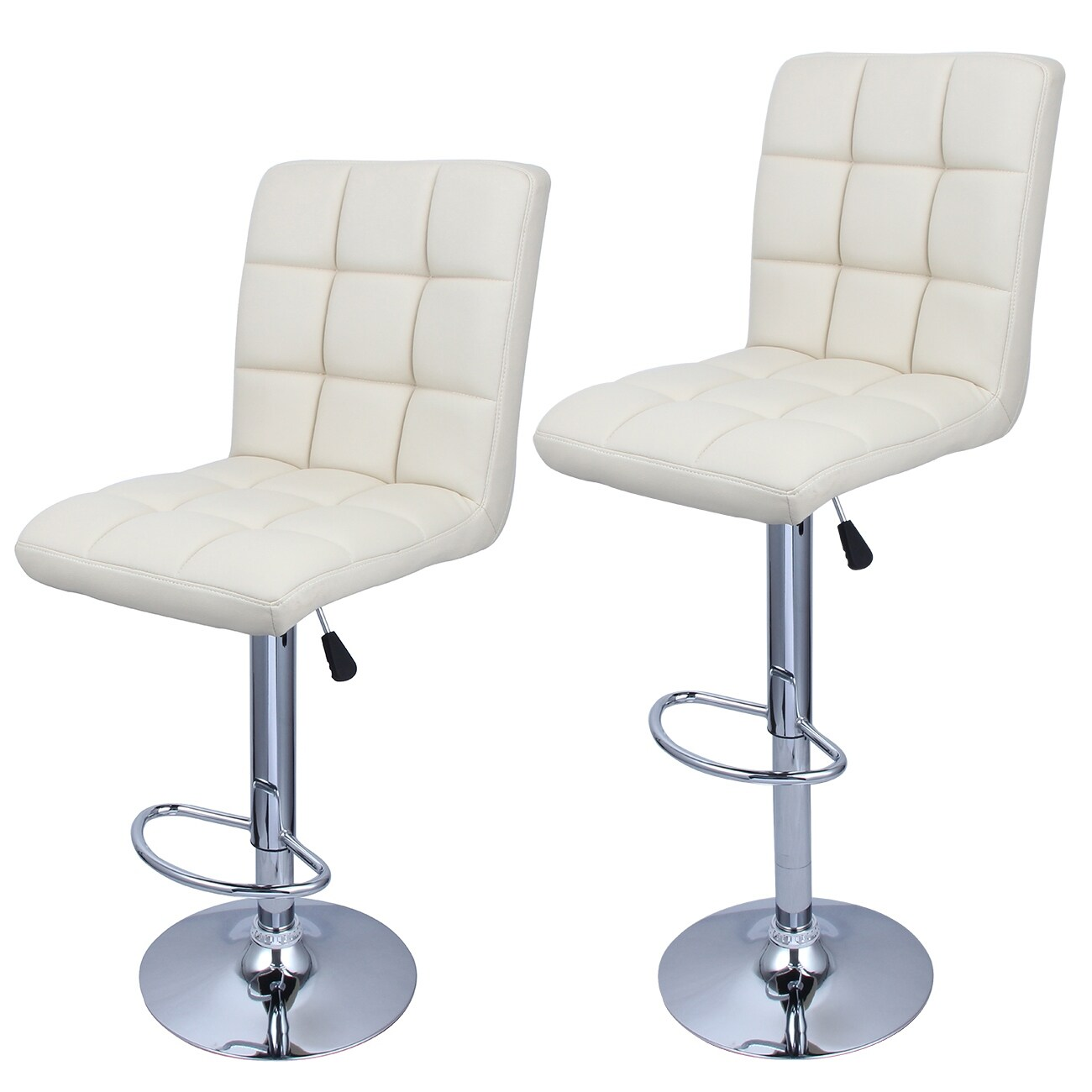 Phenomenal Belleze Swivel Leather Adjustable Hydraulic Bar Stool Cream Soda Set Of 2 Machost Co Dining Chair Design Ideas Machostcouk