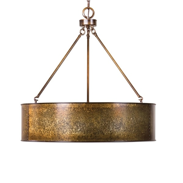 30 Golden Galvanized Round Hanging Ceiling Pendant Light Fixture Gold