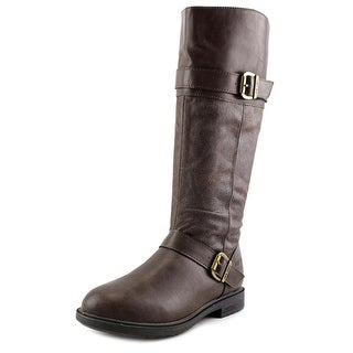 Nine West Casey Youth Round Toe Synthetic Brown Mid Calf Boot