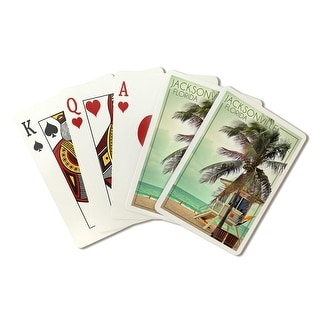 Jacksonville, Florida - Lifeguard Shack & Palm - Lantern Press Photography (Poker Playing Cards Deck)