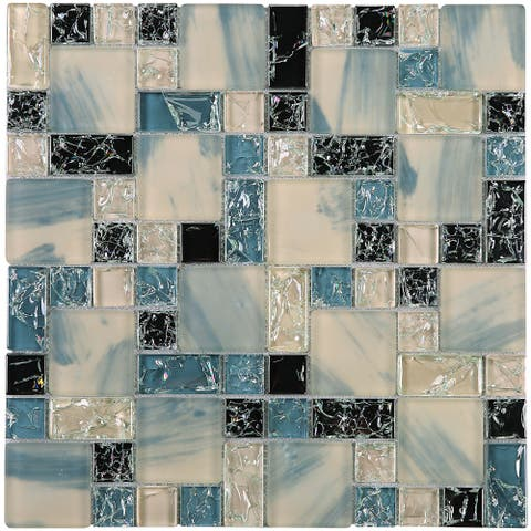 "TileGen. Crushed 1"" x 2"" Crackle Glass Mosaic Tile in Blue/White Wall Tile (10 sheets/9.6sqft.)"
