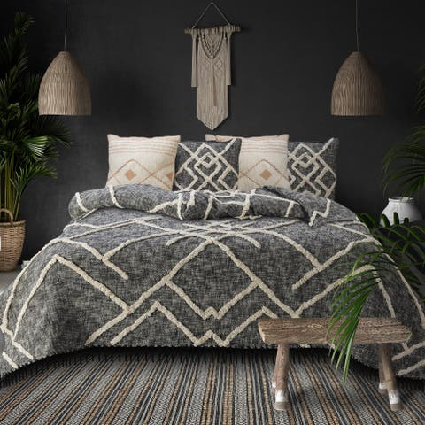 Tufted Geometric Diamond and Distressed Coverlet