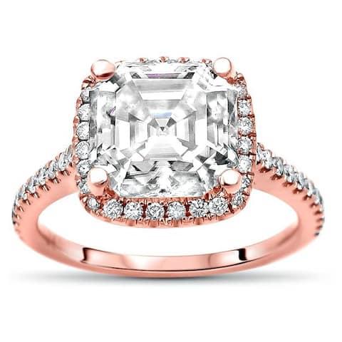 14k Rose Gold 3ct Asscher Moissanite & 1/3ct Diamond Halo Engagement Ring