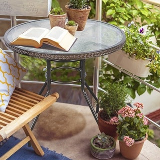 Costway 31 1/2'' Patio Rattan Round Table Tempered Glass Furniture Outdoor Coffee Dining